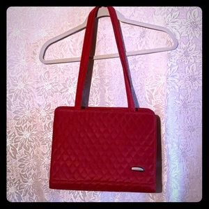 Travelon red quilted shoulder bag with 3 sections